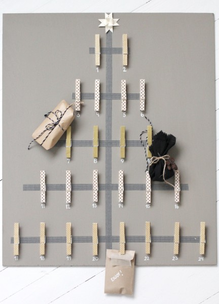 make your own advent calendar, washi tape