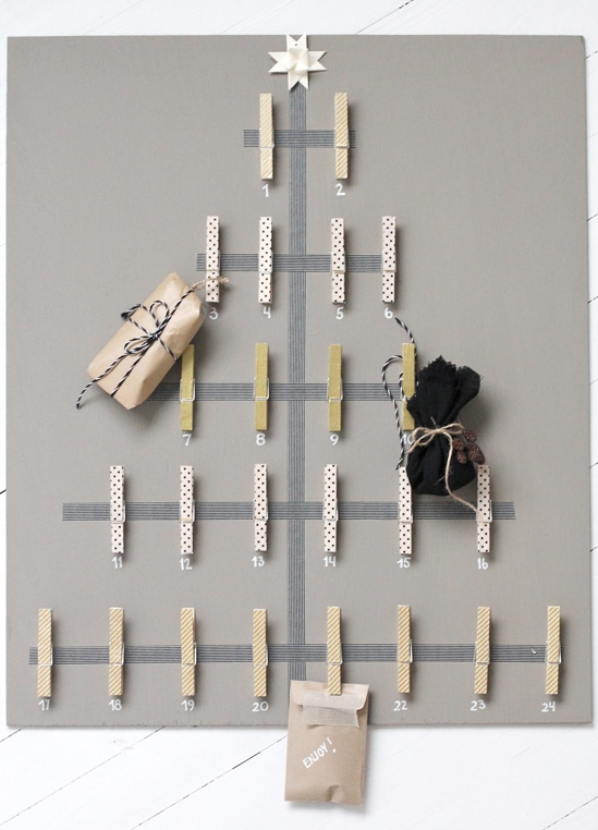 Clothespin and Washi Tape Advent Calendar {Stylizimo}