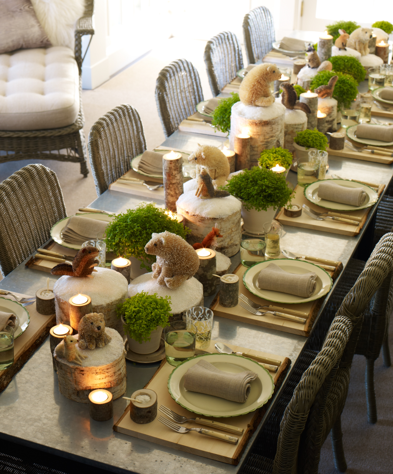 Winter Tablescape. Woodland Animal Tablescape & Winter Tablescape - The Inspired Room