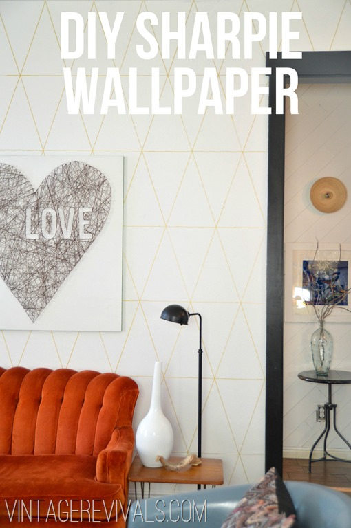 Diy Sharpie Project Geometric Wallpaper The Inspired Room