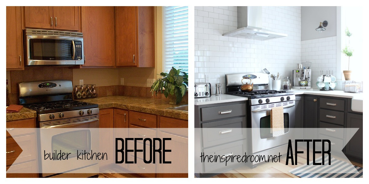 Kitchen cabinet colors before after the inspired room for Before and after painting kitchen cabinets white