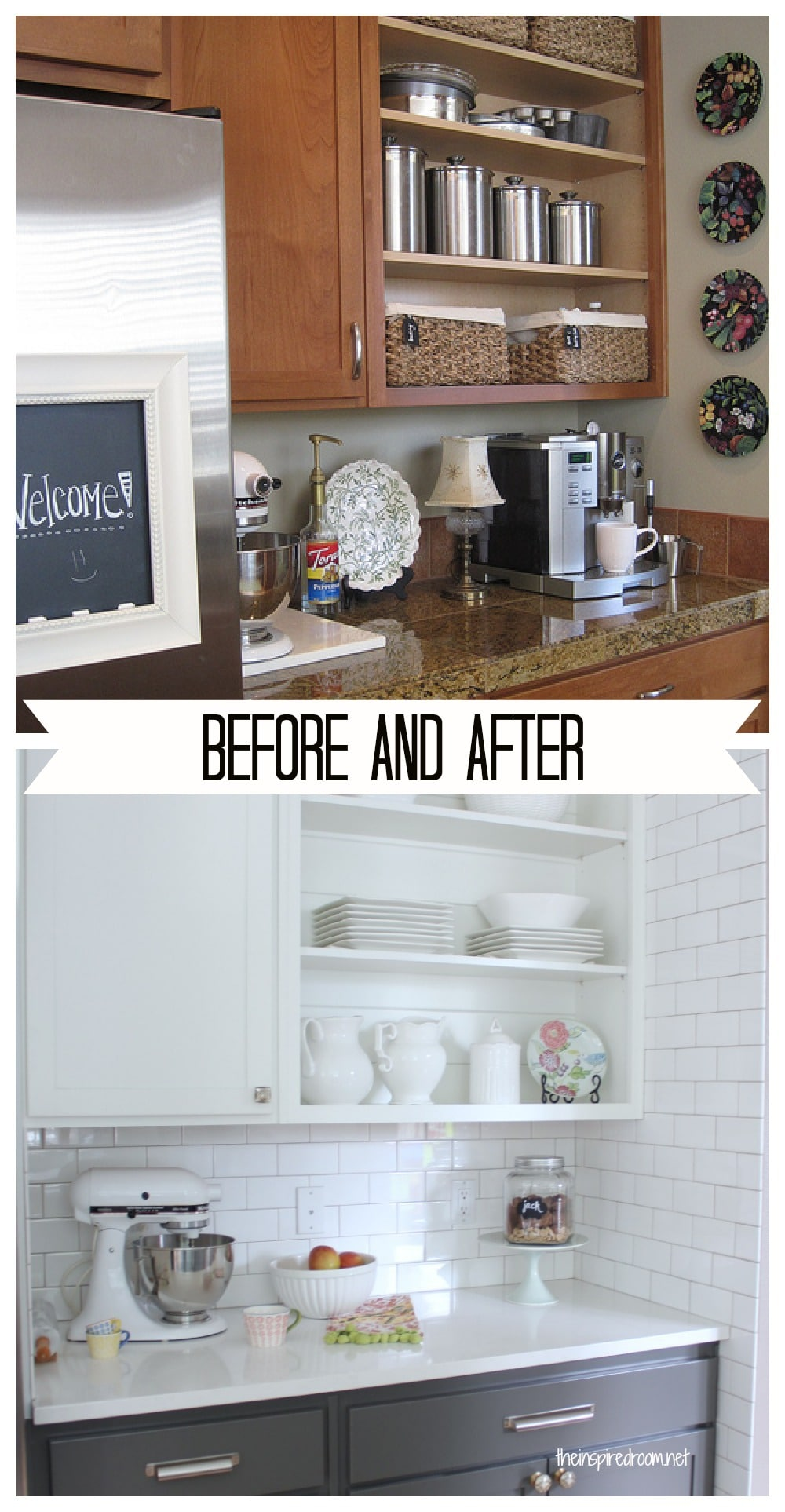 Kitchen cabinet colors before after the inspired room for Painting wood cabinets white before and after