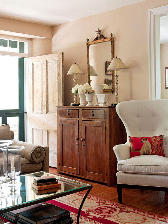 How to get organized in a small house the inspired room - Living room with front entry ...