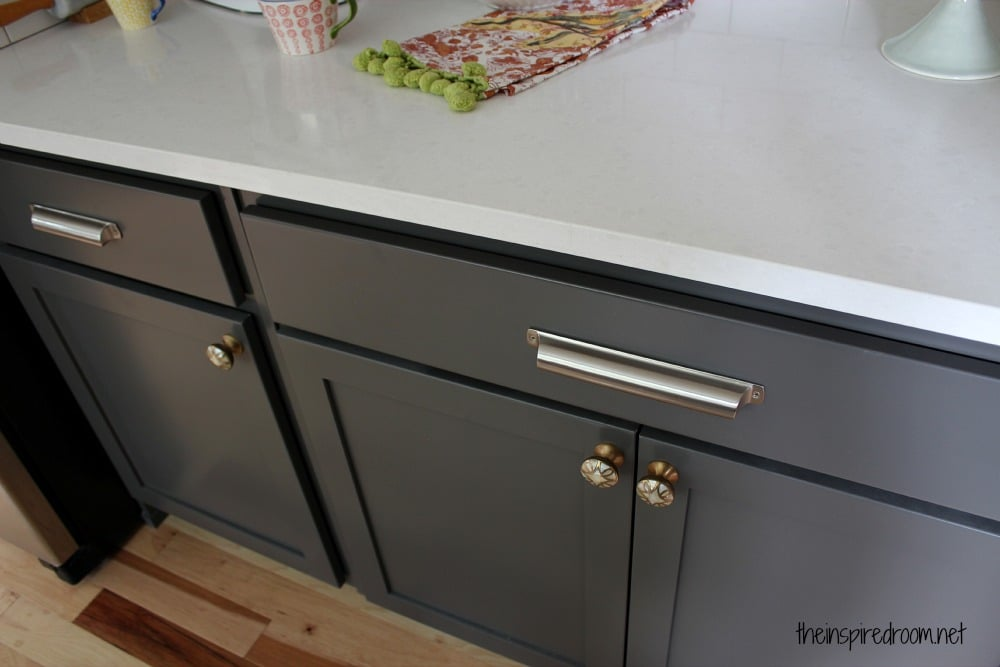 Kitchen Cabinet Colors Before After The Inspired Room - Gray kitchen cabinet hardware