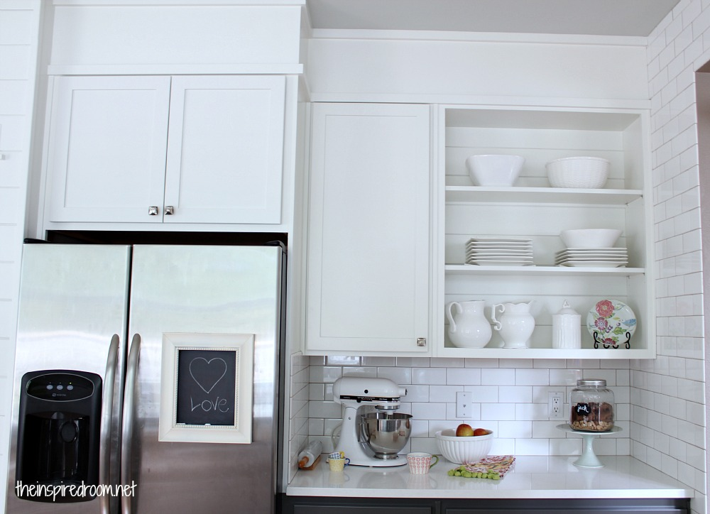 Kitchen cabinet colors before after the inspired room for Upper kitchen cupboards