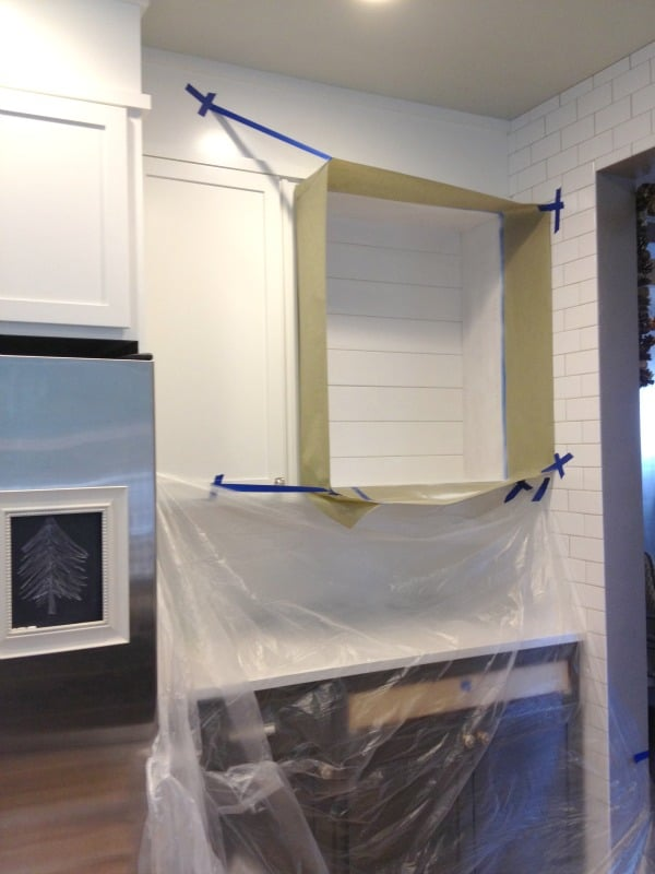 kitchen open shelves painting white