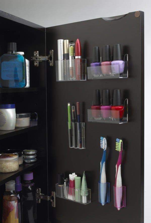 organize your cabinet doors with these clever stick on containers