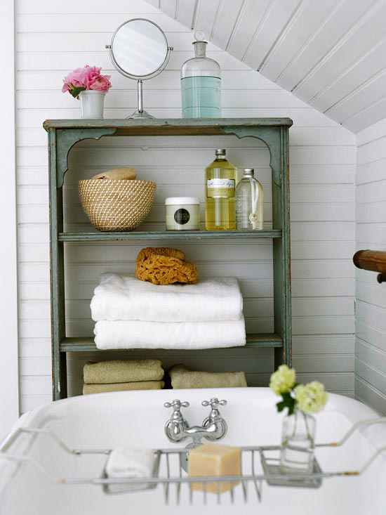 Simple  pretty u functional Bathroom Storage Ideas