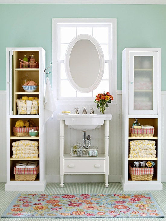 Small Bathroom Storage Ideas pretty & functional} bathroom storage ideas - the inspired room