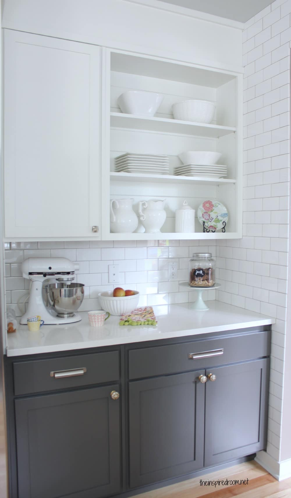 Ideas white upper lower cabinets grey cabinets upper for Grey kitchen wall units
