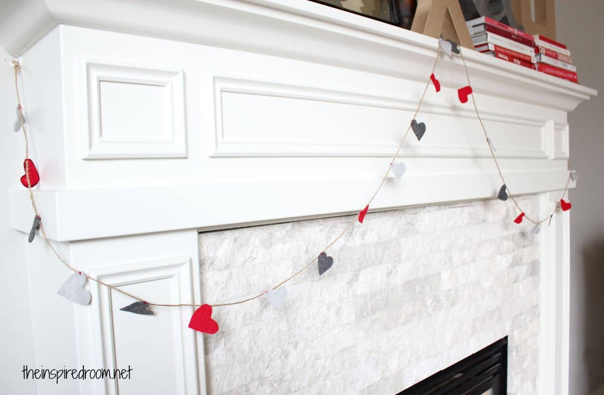 DIY Valentine's Day Garland Felt Hearts