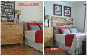 before and after reclaimed wood headboard