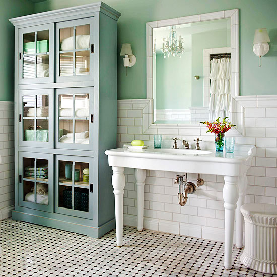 Cottage style bathrooms a blog makeover the inspired room - Small cottage style bathroom vanity design ...