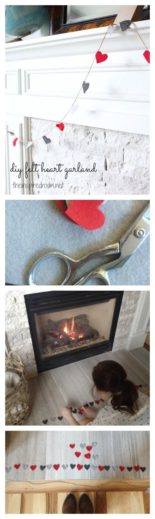 DIY Valentine's Day Garland:: Felt Hearts & Twine
