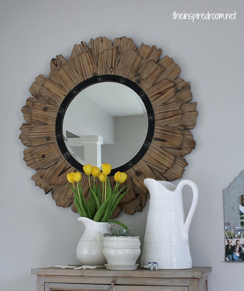 round rustic wood mirror