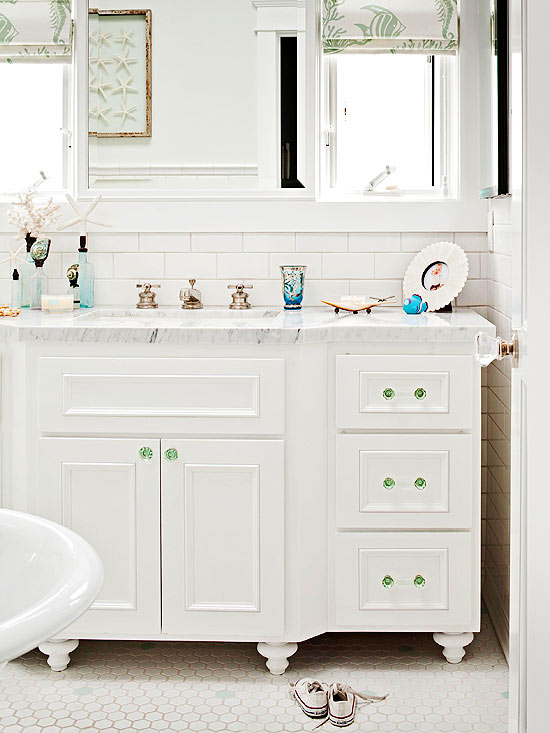 sea green accent white cottage bathroom