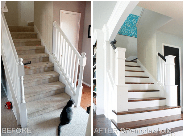 Staircase Makeover {From Builder Blah to Custom WOW!}