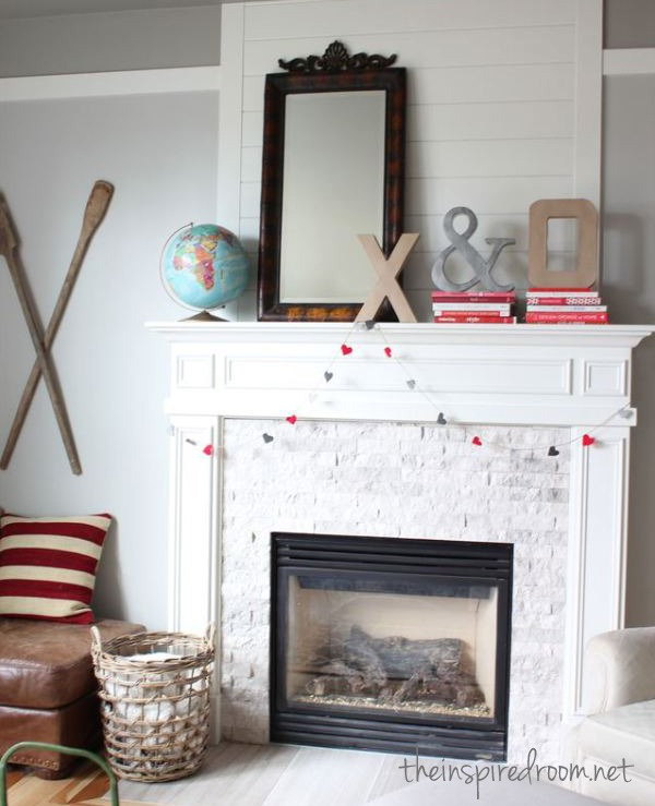 valentine's day mantel from the inspired room