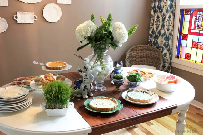 Spring brunch buffet table
