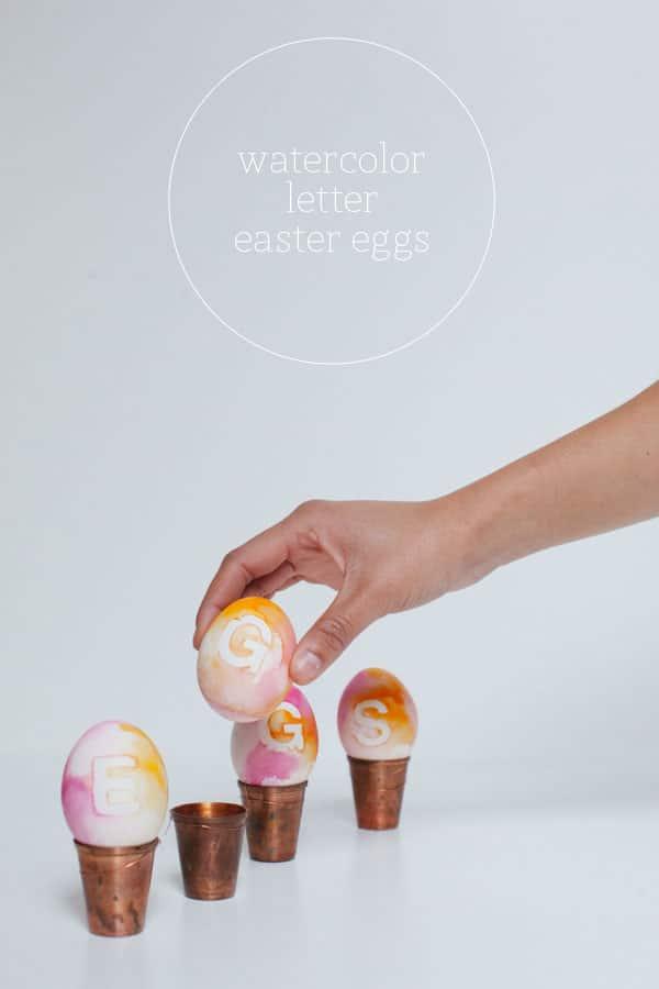 Watercolor Letter Easter Eggs