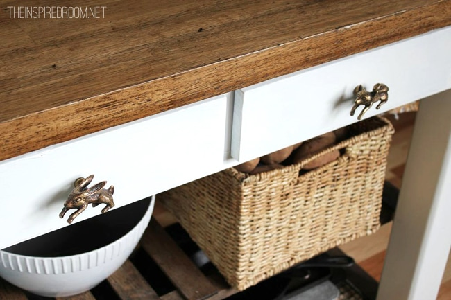 diy kitchen island with anthropologie knobs