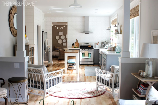 grey and white kitchen hickory floors