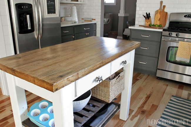 Great DIY Kitchen Island {from New Unfinished Furniture To Antique!}