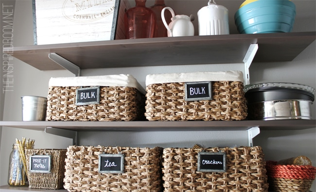Kitchen Pantry Reveal The Inspired Room & Kitchen Pantry Storage Baskets | Euffslemani.com