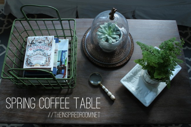 simple spring coffee table styling