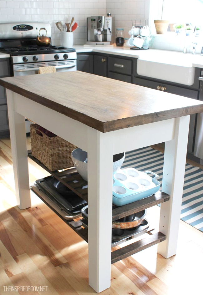 two tones kitchen island with stained wood top