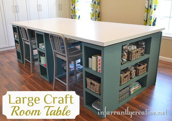 DIY Craft Room Table with Storage