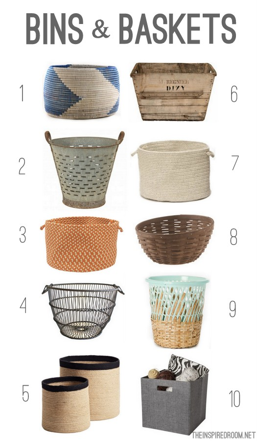 Storage Bins and Baskets Round up - The Inspired Room