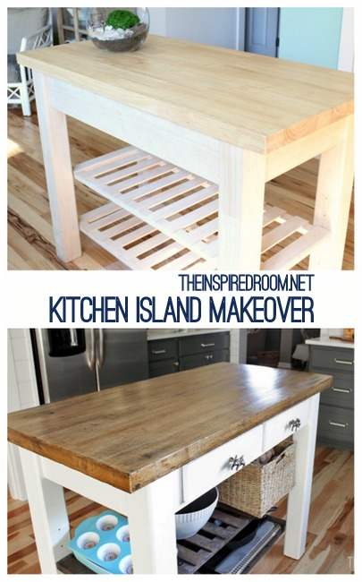 Beautiful DIY Kitchen Island from new unfinished furniture to antique