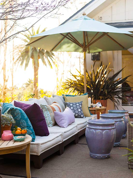 Cozy outdoor sofa with pillows