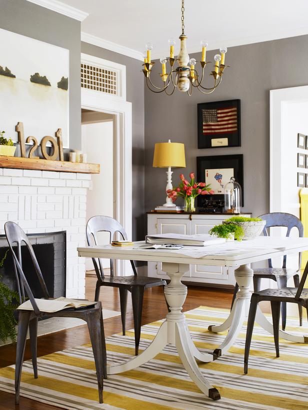 Gray walls pop of yellow cottage style room