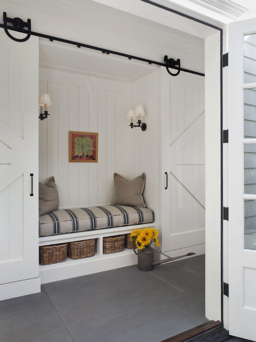 barn doors built in bench niche wendy posard
