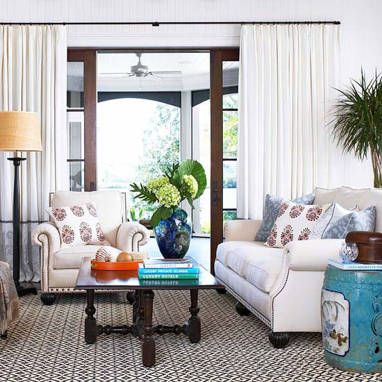10 Living Rooms With Calming Colors: A Calm Home {While Decorating With Color & Pattern}