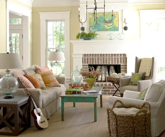 a lively room with calm end tables