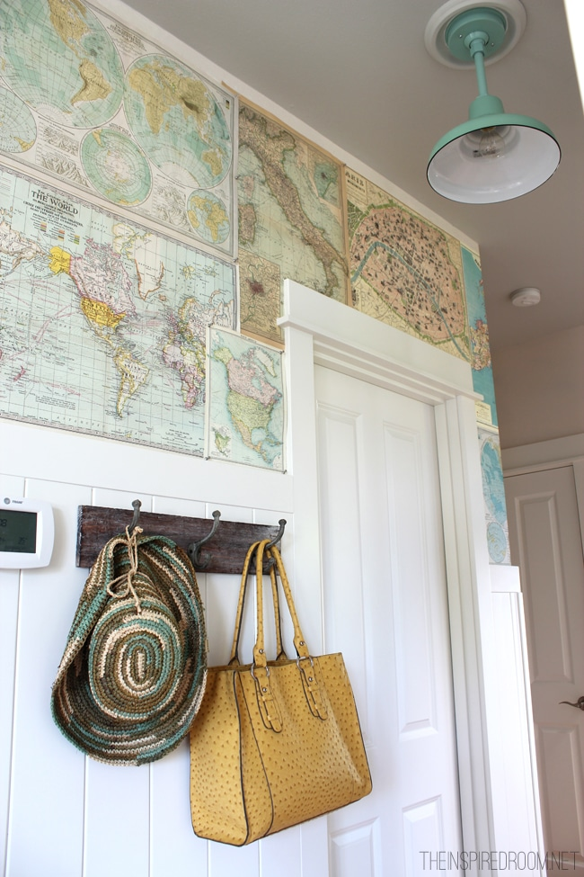 My diy map wallpaper small hallway the inspired room - Ideas for covering wallpaper ...