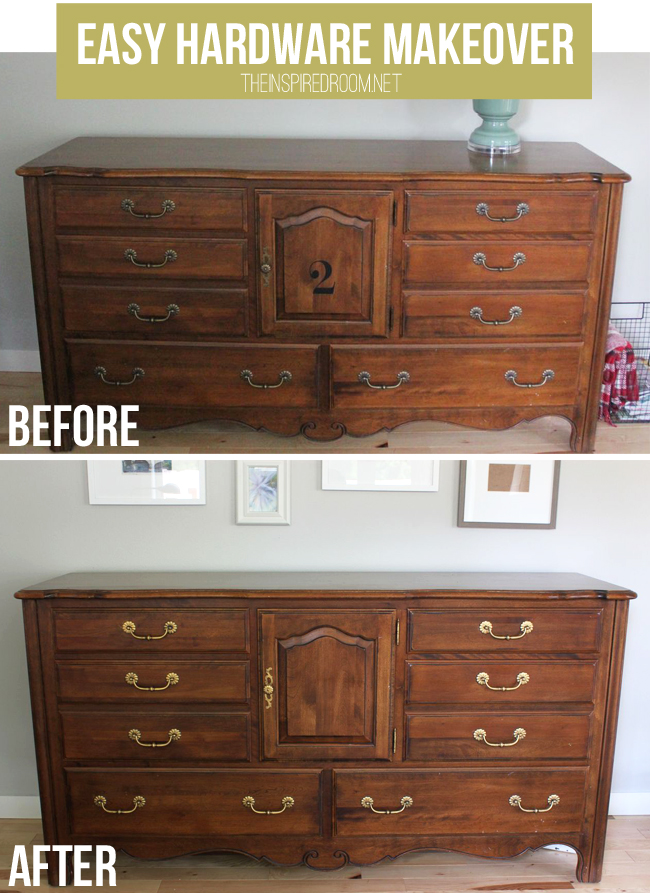 Furniture Makeover {DIY Ditto: Drawer Hardware from Blah to Bling!}