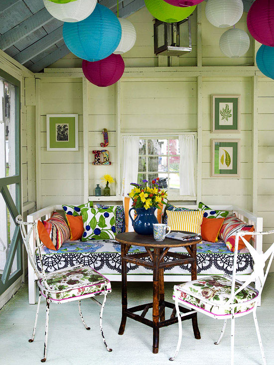 eclectic porch furniture