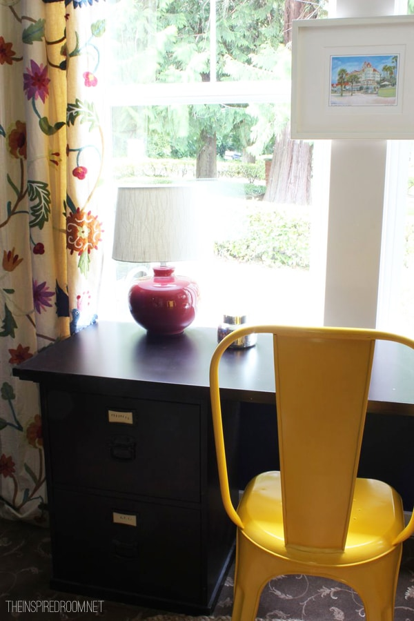home office with yellow tolix chair
