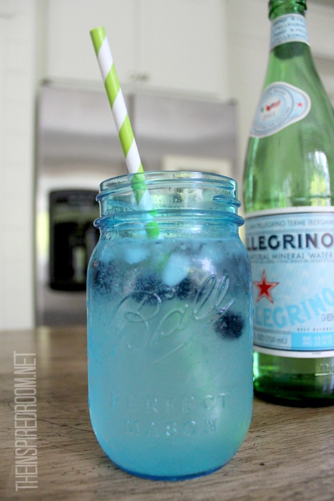 Pellegrino & Lime with Blueberry Ice {Drink in a Blue Mason Jar}