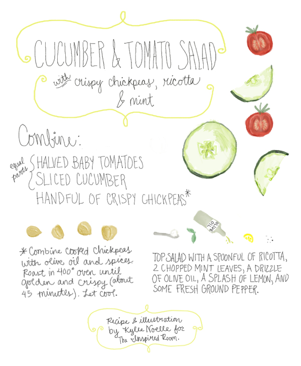 Cucumber and tomato salad recipe with crispy chickpeas, ricotta & mint