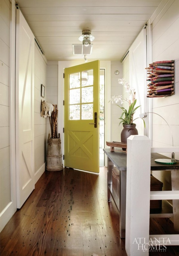 quirky and classic entry with bright door