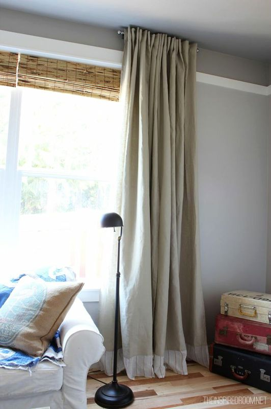 DIY embellished extra long IKEA curtains