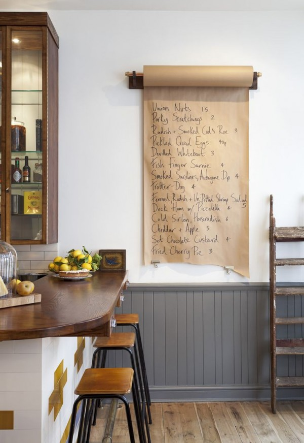 Industrial paper roll message board for the kitchen or office