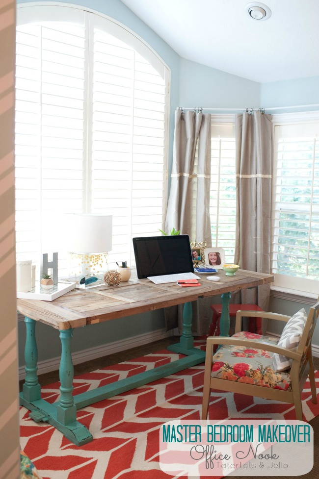 Adorable Office in Master Bedroom {Tatertots & Jello}