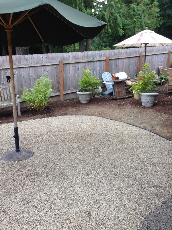 Progress on a Fall Backyard Project The Pea Gravel Patio!  The