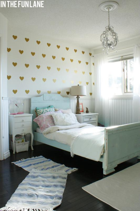 Girl's Bedroom with Heart Walls